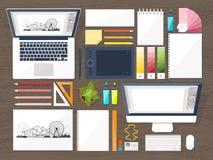 Γραφικό σχέδιο Ιστού Σχεδιασμός και ζωγραφική ανάπτυξη Απεικόνιση, σκιαγράφηση, ανεξάρτητη Ενδιάμεσο με τον χρήστη Ui Υπολογιστής Στοκ εικόνες με δικαίωμα ελεύθερης χρήσης