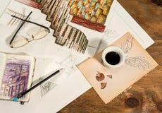 Γραφικό σχέδιο με ένα πετώντας φλιτζάνι του καφέ Στοκ εικόνα με δικαίωμα ελεύθερης χρήσης