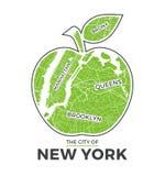 Γραφικό σχέδιο μπλουζών μήλων της Νέας Υόρκης μεγάλο με το χάρτη πόλεων Τυπωμένη ύλη πουκάμισων γραμμάτων Τ, τυπογραφία, ετικέτα, απεικόνιση αποθεμάτων