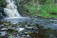 Γραφικό τοπίο με έναν καταρράκτη στο δάσος της Καρελίας Στοκ εικόνα με δικαίωμα ελεύθερης χρήσης