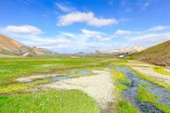 Γραφικό τοπίο στην Ισλανδία με τα βουνά, τα πράσινα λιβάδια και το νερό του ποταμού Στοκ Εικόνα