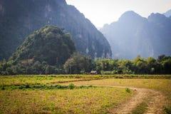 Γραφικό τοπίο στην κοιλάδα του ποταμού Μεκόνγκ στο χωριό Vang Vieng στοκ εικόνα
