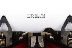 Γραφομηχανή με το όνειρο κειμένων Στοκ εικόνα με δικαίωμα ελεύθερης χρήσης