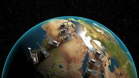 Γρύλος αντλιών πετρελαίου στη γη διανυσματική απεικόνιση