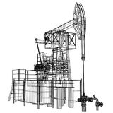 Γρύλος αντλιών πετρελαίου στο ύφος καλώδιο-πλαισίων απεικόνιση αποθεμάτων