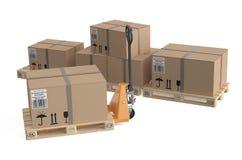 Γρύλος παλετών με το κουτί από χαρτόνι στις παλέτες απεικόνιση αποθεμάτων