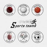 Γρύλος, πετοσφαίριση, ποδόσφαιρο, καλαθοσφαίριση, κολοκύνθη, λογότυπα διακριτικών ράγκμπι και ετικέτες για οποιαδήποτε χρήση Στοκ εικόνα με δικαίωμα ελεύθερης χρήσης