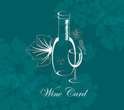 Γυαλί και μπουκάλι ποτών αλκοόλης καρτών κρασιού Στοκ Φωτογραφίες