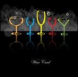 Γυαλί ποτών αλκοόλης ανασκόπησης καρτών κρασιού Στοκ Φωτογραφία