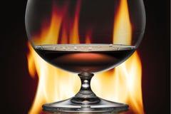 γυαλί πυρκαγιάς κονιάκ α στοκ φωτογραφία