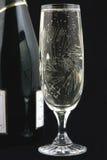 γυαλί σαμπάνιας μπουκαλ Στοκ φωτογραφία με δικαίωμα ελεύθερης χρήσης