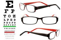 Γυαλιά ανάγνωσης με το διάγραμμα ματιών Στοκ φωτογραφίες με δικαίωμα ελεύθερης χρήσης