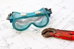 Γυαλιά ασφάλειας μηχανικών Στοκ Εικόνα