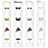 Γυαλιά ηλίου, μάσκα καρναβαλιού, διάσημος βραζιλιάνος καφές, ομπρέλα παραλιών Καθορισμένα εικονίδια συλλογής της Βραζιλίας στο Μα διανυσματική απεικόνιση