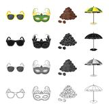 Γυαλιά ηλίου, μάσκα καρναβαλιού, διάσημος βραζιλιάνος καφές, ομπρέλα παραλιών Καθορισμένα εικονίδια συλλογής της Βραζιλίας στο Μα απεικόνιση αποθεμάτων