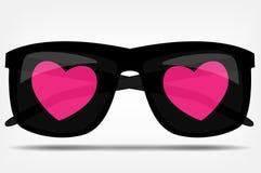 Γυαλιά ηλίου με μια διανυσματική απεικόνιση καρδιών Στοκ Φωτογραφία