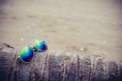 Γυαλιά ηλίου στην παραλία με το δέντρο καρύδων κύβων Στοκ φωτογραφία με δικαίωμα ελεύθερης χρήσης