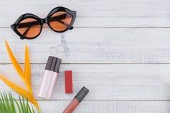 Γυαλιά ηλίου, φροντίδα καλλυντικών και δέρματος Στοκ Εικόνα