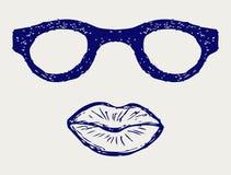 Γυαλιά και χειλικές σκιαγραφίες Στοκ Φωτογραφία
