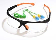 Γυαλιά και earplugs στοκ εικόνα
