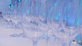 Γυαλιά κρασιού και CHAMPAGNE απόθεμα βίντεο
