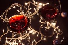 Γυαλιά κόκκινου κρασιού στοκ εικόνες