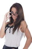 γυαλιά που θέτουν τη γυν& Στοκ φωτογραφία με δικαίωμα ελεύθερης χρήσης
