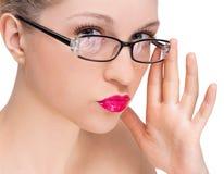 γυαλιά που φορούν τη γυν&al Στοκ φωτογραφία με δικαίωμα ελεύθερης χρήσης