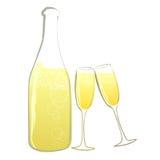 γυαλιά σαμπάνιας μπουκα&l Στοκ Εικόνα