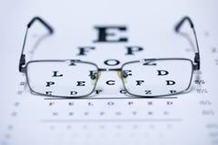 Γυαλιά σε ένα οπτικό διάγραμμα δοκιμής που εστιάζει σε ένα ιδιαίτερο μέρος Στοκ Φωτογραφίες