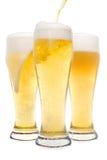 γυαλιά τρία μπύρας Στοκ φωτογραφία με δικαίωμα ελεύθερης χρήσης