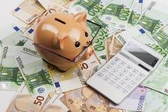 γυαλιά τραπεζών piggy Στοκ Φωτογραφία