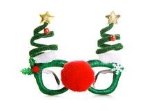 Γυαλιά Χριστουγέννων που διακοσμούνται με τα Χριστούγεννα τρία και μεγάλα κόκκινα αριθ. Στοκ Εικόνες