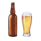 Γυαλί και μπουκάλι μπύρας Watercolor Στοκ Εικόνες