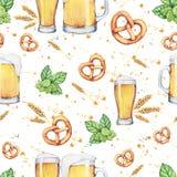 Γυαλί και πίντα μπύρας Watercolor πρότυπο άνευ ραφής Στοκ Εικόνα