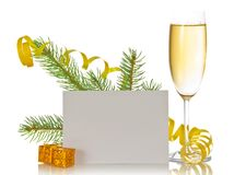 Γυαλί κρασιού CHAMPAGNE, κλάδος πεύκων με serpentine Στοκ Φωτογραφία