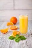 Γυαλί μεντών χυμού από πορτοκάλι Στοκ εικόνες με δικαίωμα ελεύθερης χρήσης