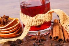 Γυαλί του θερμαμένου τυλιγμένου κρασί μαντίλι με τα φρέσκα ευώδη καρυκεύματα Στοκ εικόνα με δικαίωμα ελεύθερης χρήσης