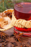 Γυαλί του θερμαμένου τυλιγμένου κρασί μαντίλι, των καρυκευμάτων και των κομψών κλάδων Στοκ Εικόνα