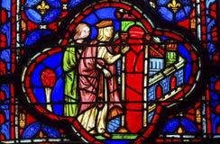 Γυαλί Sainte Chapelle Παρίσι Γαλλία βασίλισσας Jerusalem Stained Στοκ Εικόνες