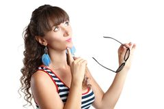 Γυαλιά ηλίου λαβής γυναικών Στοκ φωτογραφία με δικαίωμα ελεύθερης χρήσης