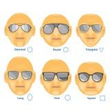 Γυαλιά ηλίου για το διαφορετικό πρόσωπο Σύνολο έξι μορφών Στοκ εικόνα με δικαίωμα ελεύθερης χρήσης