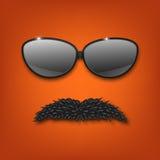 Γυαλιά ηλίου και mustache eps10 να γεμίσει προτύπων λουλουδιών πορτοκαλιά rac ric ράβοντας ριγωτή διανυσματική ταπετσαρία περιποί Στοκ Εικόνες
