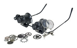 Γυαλιά και εργαλεία Steampunk λοξά Στοκ φωτογραφίες με δικαίωμα ελεύθερης χρήσης