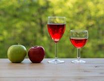Γυαλιά κρασιού και ζωηρόχρωμα μήλα στον πίνακα Στοκ Εικόνες