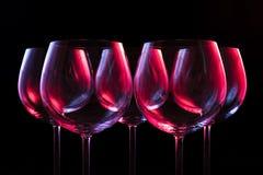 Γυαλιά κρασιού νυχτερινών κέντρων διασκέδασης Στοκ φωτογραφίες με δικαίωμα ελεύθερης χρήσης