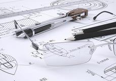 Γυαλιά, κυβερνήτης, πυξίδα και μολύβια Στοκ Φωτογραφία