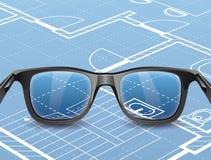 Γυαλιά στο πρόγραμμα Στοκ Φωτογραφίες