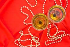 γυαλιά δύο άσπρο κρασί Στοκ Εικόνα