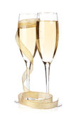 Γυαλιά CHAMPAGNE με τη χρυσή κορδέλλα Στοκ Εικόνες